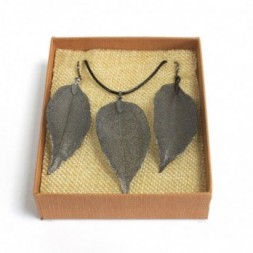 Necklace and Earring Set - Bravery Leaf - Pewter