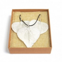 Necklace and Earring Set - Heart Leaf - Silver