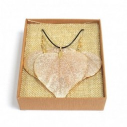 Necklace and Earring Set - Heart Leaf - Gold