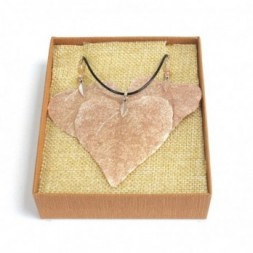 Necklace and Earring Set - Heart Leaf - Pink Gold
