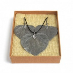 Necklace and Earring Set - Heart Leaf - Pewter