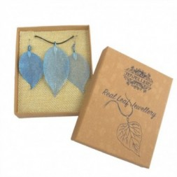 Necklace and Earring Set - Bravery Leaf - Blue