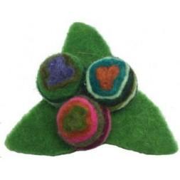 Triangular Hand made Felt Swirly Flower Brooch