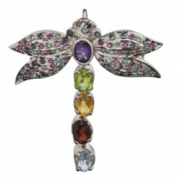 Winged Beauty Gems Profusion Brooch Pendant