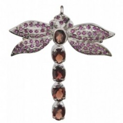 Butterfly Garnet & Silver Brooch Pendant