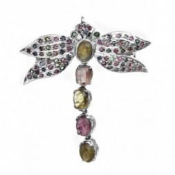 Butterfly Tourmaline & Silver Brooch Pendant