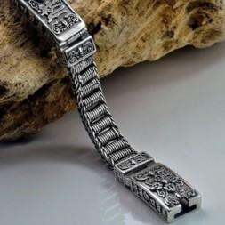 Buddhism Thai Om Mani Padme Hum Silver Bracelet