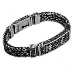 Buddhism Om Mani Padme Hum Chain Silver Bracelet