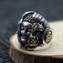 Buddha and Mahakala Silver Adjustable Ring