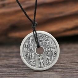 Blessing Ba Gua Coin Silver Pendant