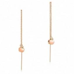Apple Rose Gold Long Line Dangle Earrings