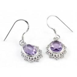 Amethyst 5ct Oval Cut Silver Dangle Fine Earrings