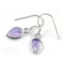 Amethyst 3ct  Pear Cut Silver Dangle Fine Earrings