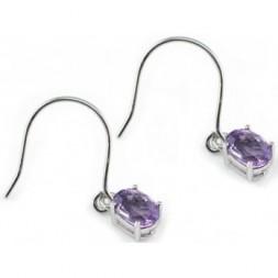 Amethyst Silver Dangle Fine Earrings