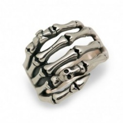 Hand of Skeleton Skull Silver Ring