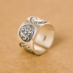 Adjustable Dragon Silver Ring