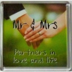 Mr and Mrs Partners in love and life Fridge Magnet